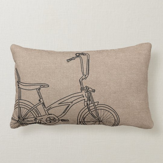 Burlap Bicycle Old Bike Lumbar Cushion