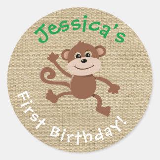 Burlap Birthday Sticker with Monkey Graphic