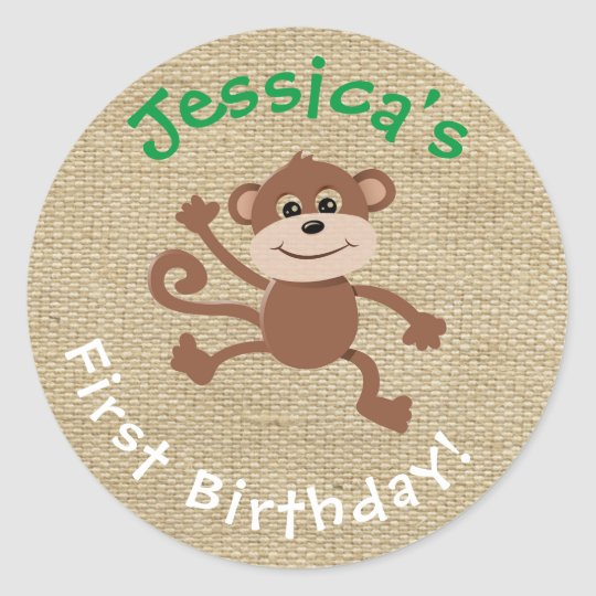Burlap Birthday Sticker with Monkey Graphic