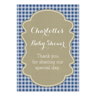 Burlap & Blue Gingham Baby Shower Favour Tags Pack Of Chubby Business Cards