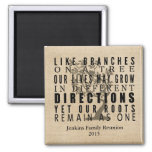 Burlap Branches on a Tree Family Reunion Quote Square Magnet