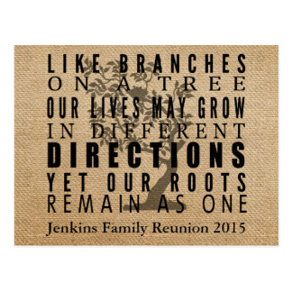 Burlap Branches Tree Family Reunion Invitation Postcard