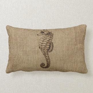 Burlap Bronze Seahorse Illustration Sealife Design Lumbar Cushion