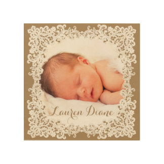 Burlap brown and white lace custom photo design wood wall decor