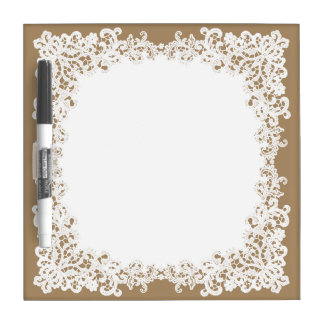 Burlap brown and white square lace design dry erase board