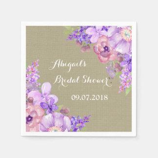 Burlap Brown Purple Floral Bridal Shower Napkins Disposable Napkin