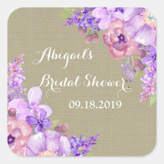Burlap Brown Purple Floral Bridal Shower Tag Square Sticker