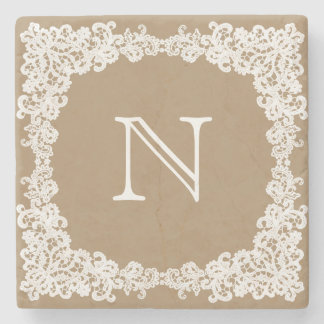 Burlap brown & white lace custom coaster