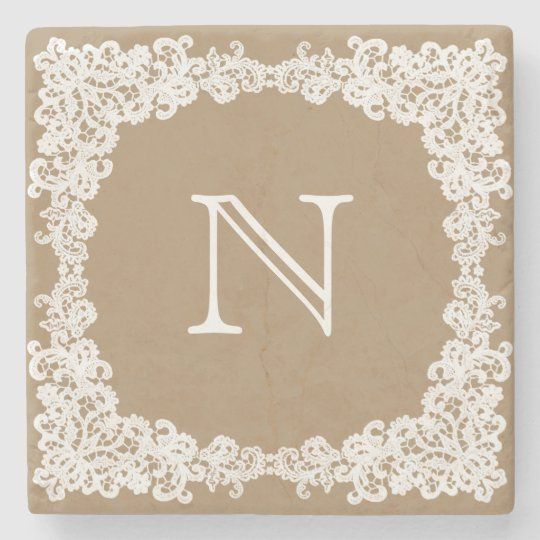 Burlap brown & white lace custom coaster stone