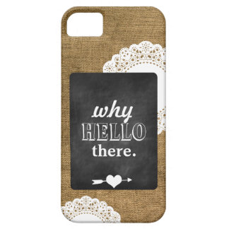 Burlap, Chalkboard, and Doily iPhone 5 Case