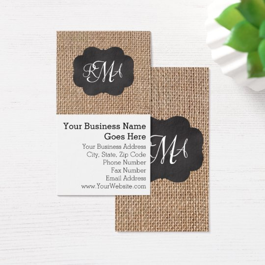Burlap Chalkboard Look Triple Monogrammed Script Business Card