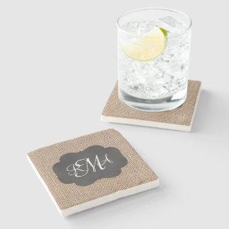 Burlap Chalkboard Look Triple Monogrammed Script Stone Beverage Coaster