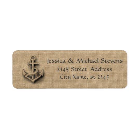 Burlap chic rustic wedding nautical anchor