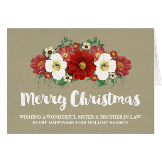 Burlap Christmas Sister & Brother in Law Card