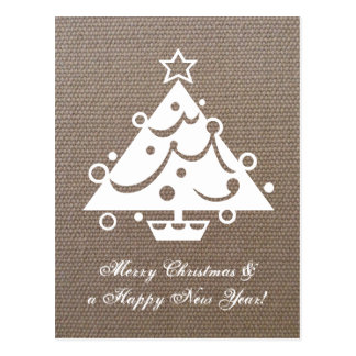 Burlap Christmas tree postcards