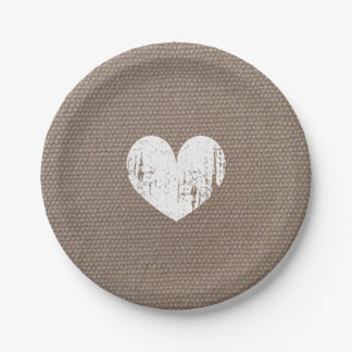 Burlap country chic heart paper plates for wedding 7 inch paper plate