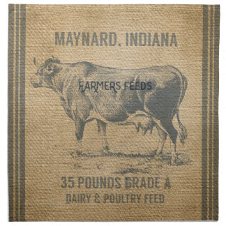burlap cow feed sack napkin