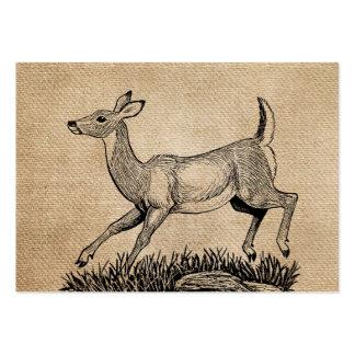 burlap deer doe rustic business cards