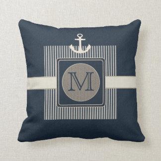 Burlap Effect Nautical Ship's Anchor Monogram Cushion