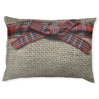 Burlap(Faux) and Red Plaid Bow Pet Bed