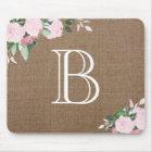 Burlap Floral Blooms Monogram Mouse Mat