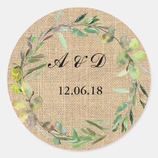 Burlap Floral Lights Stickers Round Wedding Label