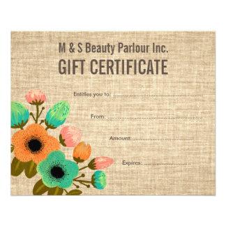 Burlap Floral Salon Gift Certificate Template 11.5 Cm X 14 Cm Flyer
