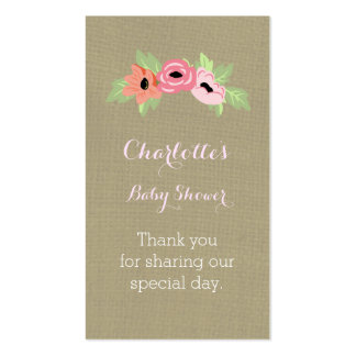 Burlap & Flowers Baby Shower Favour Tags Pack Of Standard Business Cards