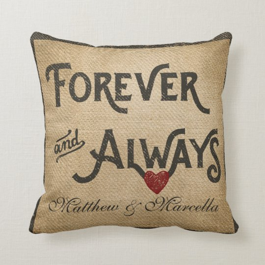 Burlap Forever Always Heart Personalised Cushion
