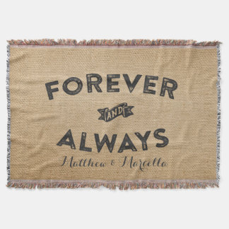 Burlap Forever and Always Throw Blanket