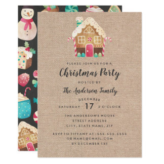 Burlap Gingerbread House Christmas Party Card