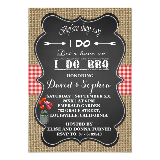 Burlap Gingham and Chalkboard I DO BBQ Invitation