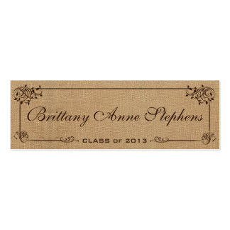 Burlap Graduation Name Card Insert Pack Of Skinny Business Cards
