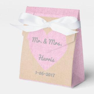 Burlap Heart Customized Wedding Favor Gift Bags Favour Box