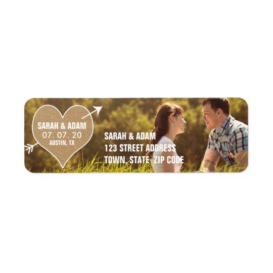 Burlap Heart   Rustic Save the Date Address Label