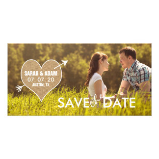 Burlap Heart | Rustic Save the Date Photo Card