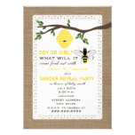 Burlap Inspired Bee Themed Gender Reveal Party Personalized Invitations
