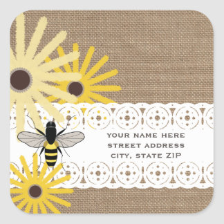 Burlap Inspired Black Eyed Susans & Bee Address Square Sticker