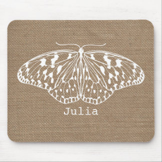 Burlap Inspired Butterfly Mousepad
