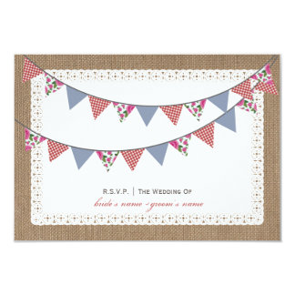 Burlap Inspired Floral & Gingham Bunting RSVP Card