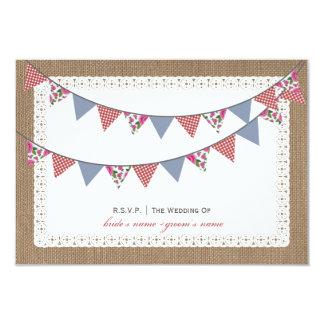 "Burlap Inspired Floral & Gingham Bunting RSVP 3.5"" X 5"" Invitation Card"