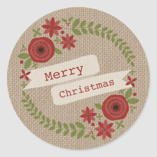 Burlap Inspired Floral Wreath Christmas Classic Round Sticker