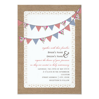 Burlap Inspired Gingham & Floral Bunting Wedding Card