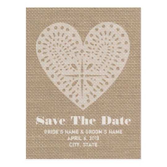 Burlap Inspired Heart Wedding Save The Date Postcard