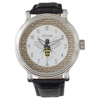 Burlap Inspired Honey Bee Personalized Watch