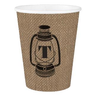 Burlap Inspired Monogrammed Lantern Wedding Cups