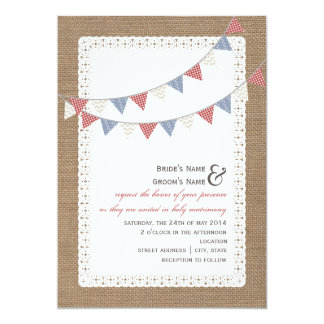 Burlap Inspired Patterned Bunting Wedding 5x7 Paper Invitation Card