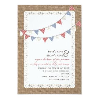 "Burlap Inspired Patterned Bunting Wedding 5"" X 7"" Invitation Card"