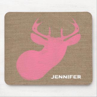 Burlap Inspired Pink Deer Mousepad
