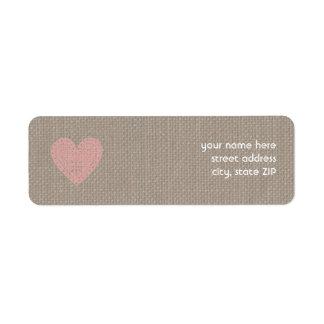Burlap Inspired Pink Heart Valentine Address Label